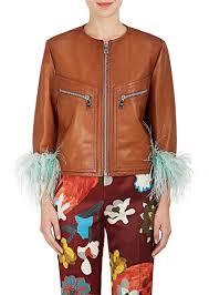 prada women s feather embellished leather jacket