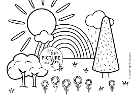 Nature Coloring Page For Kids With Rainbow Printable Free Coloing