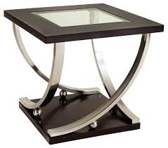 standard furniture melrose square glass top end table in rich dark merlot