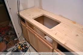 homemade butcher block countertop with hole cut for sink how to make a butcher block countertop