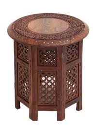 SHEESHAM Wood Table with Brass Inlay Brown 18