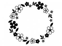 白黒の小花と葉っぱのリースのフレーム飾り枠イラスト 無料イラスト