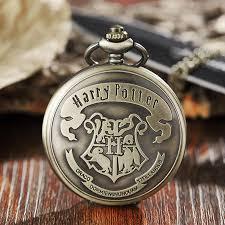 vintage harry potter hogwarts pocket watch necklace bronze cute fob chain clock pendant for children boys potter fans gift best pocket watch modern pocket