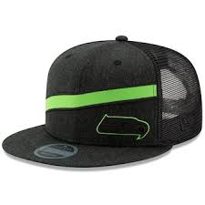 Men\u0027s New Era Heathered Black Seattle Seahawks Label Scale Trucker 9FIFTY Adjustable Snapback Hat Hat, Snapbacks, Cap