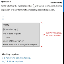 Question 1 - Cbse Sample Paper Class 10 - Write Whether 7/75 Will Have