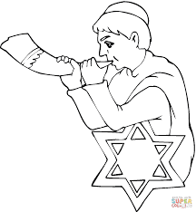 Boy With Shofar On Rosh Hashanah Coloring Page Free