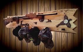 Rifle Coat Rack Rustic Live Edge Ash Wood Wall Decor Gun Hat Coat Rack Oak Arrowhead 91