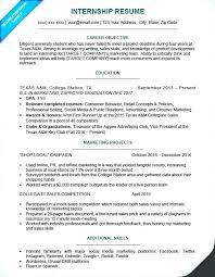 College Internship Resume Sample Internship Resume For College