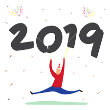 Vector of Man dancing and holding 2019 happy new year balloon with ...