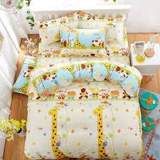 whole kids like cartoon cotton giraffe printed bedding sets super king size bed sheet duvet cover set pillowcases home textiles comforters duvet