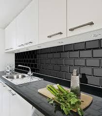 Metro Fliese Facette schwarz glänzend 10x20 Wandfliese Küche Bad