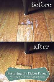 Removing scratches from a wood floor: One part vinegar, three parts cooking  oil. Rub in -- no need to wipe off!