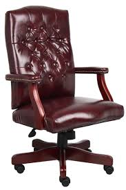 chair traditional executive tufted desk chair with wood trim
