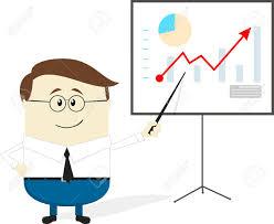 Chart Cartoon Businessman Showing Chart On Projection Screen Cartoon Character
