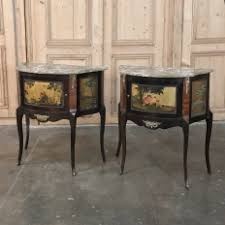 pair 19th century italian marble top painted cabinets nightstands