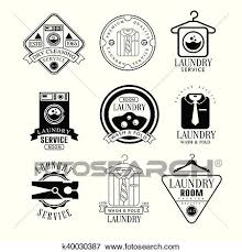 drying clothes clipart black and white. Beautiful White Clip Art  Laundry And Dry Cleaning Service Black White Label Set  Fotosearch Search With Drying Clothes Clipart N