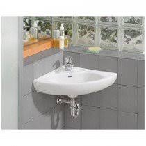 Cheviot Small Wall Mount Corner Bathroom Sink - Single Faucet Drilling