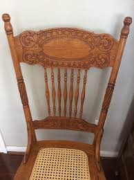 antique oak larkin 1 pressed back chairs circa 1900 cane seat matching