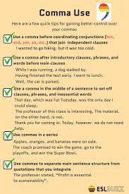 When To Use Comma Rules For Comma Usage How To Use Commas Correctly English