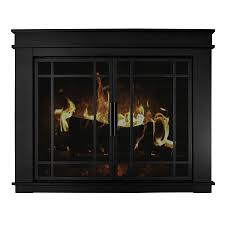 pleasant hearth midnight black um cabinet style fireplace doors with smoke tempered glass