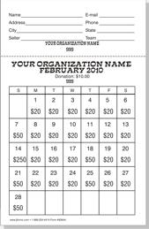 Calendar Raffle Template Raffle Tickets Raffle Calendars Fund Raising Items By Jforms Com