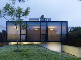 Alluring Evening Landscape with Dark Large Glass Window Desaign facing Lawn  Green Grass