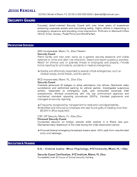 Sample Resume Security Guard Resume Samples