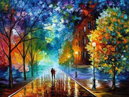 beautiful oil paintings by leonid afremov using palette