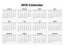 Yearly Calendar 2019