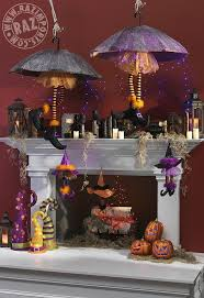 RAZ Halloween Mantel with Spell Books Witch Legs Witch Hats String Lights