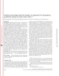 Nih Body Fat Percentage Chart Pdf Healthy Percentage Body Fat Ranges An Approach For