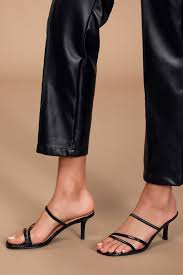 Loft Black Snake Strappy High Heel Sandals