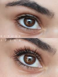before and after using the new l oreal voluminous feline noir mascara read the