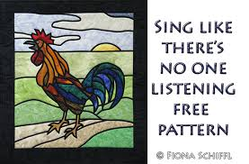 Free stained glass rooster quilt pattern   Fiona Schiffl &  Adamdwight.com