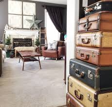 A collection of vintage suitcases is a great bargain decor item. Look for  that at