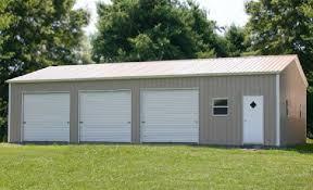 this 3 car garage steel building kit includes three garage doors walkdoor delivery and installation eversafe metal garages in florida meet the