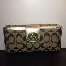 Coach turnlock signature large wallet