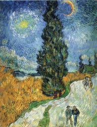 vincent van gogh road with cypress and star 1890 oil on canvas