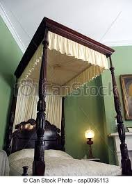 Four poster. Antique four post canopy bed at plantation home.