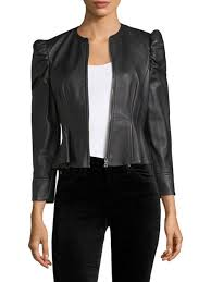 latest rebecca taylor victorian leather jacket black for women