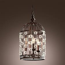bold design bird cage shape antique black wrought iron pendant chandelier accented by crystal fl