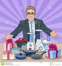 Appliances Discount Successful Seller With Household Appliances Big Discount Pop Art