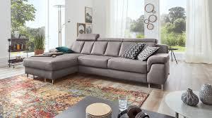 Interliving Sofa Serie 4050 Eckkombination Graues Longlife Leder Cloudy Chromfüße Schenkelmaß Ca 177 X 289 Cm
