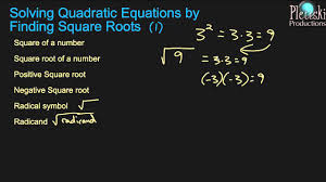 solving quadratic equations by finding square roots 1