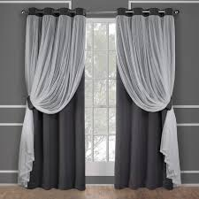 catarina black pearl layered solid blackout and sheer grommet top window curtain
