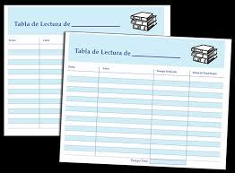 Reading Log Chart Printable Printable Reading Log In Spanish Fellowes