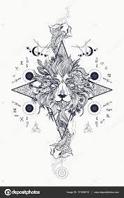 Mystická Lví A Kapr Tetování Astrologické Symboly Stock Vektor