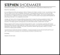 Best Ideas Of Sample Cover Letter For A Chef Job Cover Letters