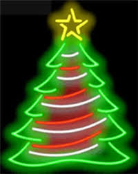 NEON SIGN CHRISTMAS TREE BRIGHT GREEN, RED WHITE & YELLOW 24
