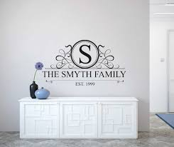 personalised family name monogram wall decal personalised wall decal sticker wall decal